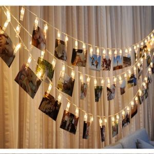 Guirlande lumineuse pince 10 LED design décoration pour photo chambre