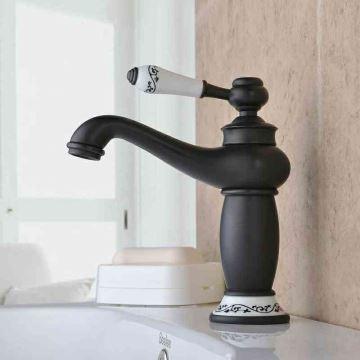Robinet de lavabo H19.5cm pour salle de bain Rétro Huilé Bronze Noir ...