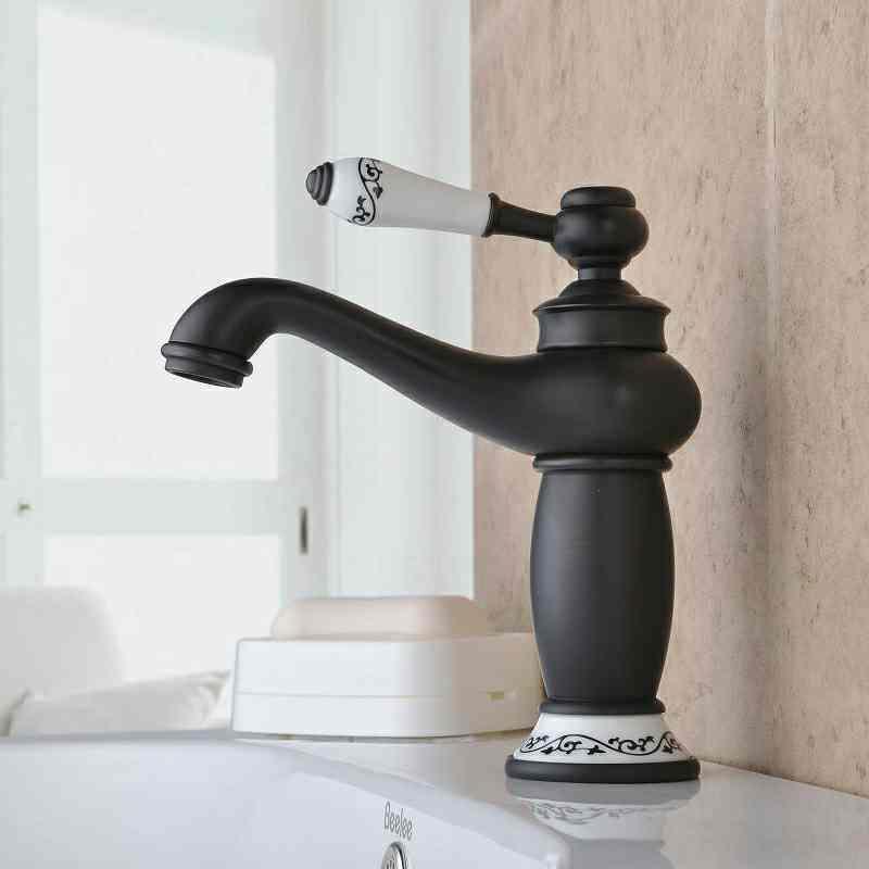 robinet de lavabo pour salle de bain r tro huil bronze noir une trous une poign e. Black Bedroom Furniture Sets. Home Design Ideas