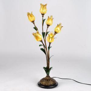 LED Lampe à poser rétro fer doré tulipe à 6 lampes luxe pour salon