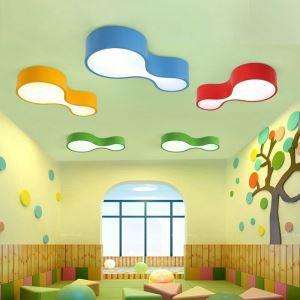 Plafonnier LED acrylique L 44 cm à 4 modèles lampe de plafond pour chambre d'enfant géométrique