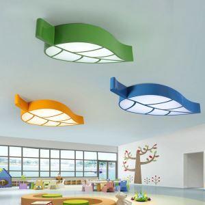Plafonnier LED L58cm pour chambre d'enfant  luminaire feuille à 4 modèles
