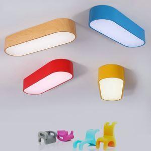 Plafonnier lampe de plafond pour chambre d'enfant couloir luminaire ovale créatif simple moderne à 4 modèles