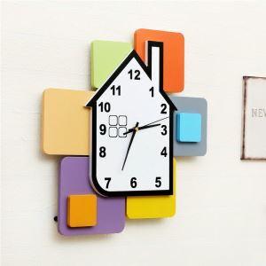 Horloge murale avec cadre de photo cubes de construction créatif pour chambre salle style moderne simple