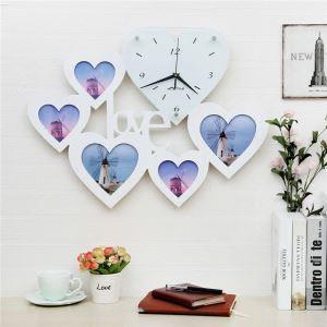 Horloge murale avec cadre de photo LOVE créatif pour chambre salle 2 modèles style moderne simple