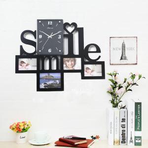 Horloge murale avec cadre photo 4 vues pour chambre salle 2 modèles