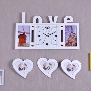 Horloge murale avec cadre de photo LOVE créatif pour chambre salle 3 modèles style moderne simple