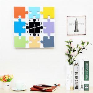 Horloge murale avec cadre de photo carré puzzle créatif pour chambre d'enfant salle 3 modèles style moderne simple