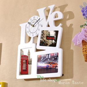 Horloge murale avec cadre de photo LOVE créatif pour chambre salle style moderne simple