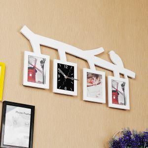 Horloge murale avec cadre de photo oiseaux créatif 2 modèles pour chambre salle style moderne simple