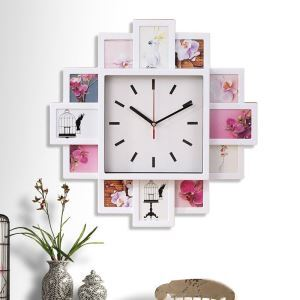 Horloge murale avec cadre de photo 3 modèles pour chambre salle style moderne simple