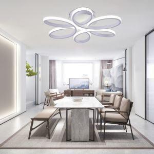 Plafonnier LED EverFlower Diam 58 cm en aluminium PVC blanc fleur pour cuisine salle