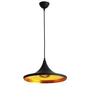 Suspension en fer D 36 cm design noir style industriel luminaire pour cuisine couloir pas cher