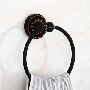Anneau à serviette en laiton noir pour salle de bain style rétro