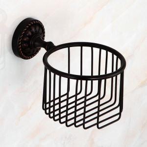 Main courante Porte-papier de toilette en laiton noir pour salle de bain style rétro