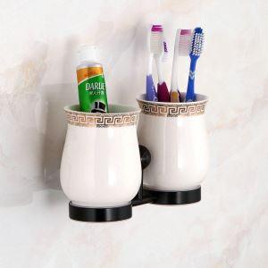 Porte-brosses à dents en laiton noir pour salle de bain style rétro