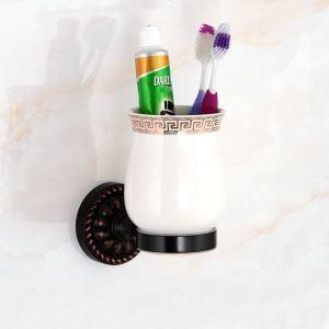 Porte-brosses à dents 1 tasse  en laiton noir pour salle de bain style rétro