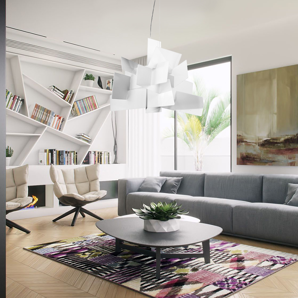 lustre blanc explosion suspension design l45cm acrylique luminaire cuisine salon salle pas cher. Black Bedroom Furniture Sets. Home Design Ideas