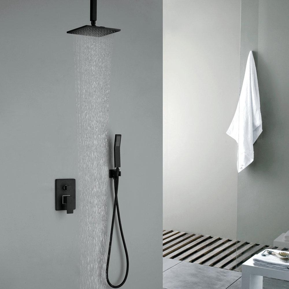 robinet de douche avec douchette noir en cuivre pour salle de bain 4 trous. Black Bedroom Furniture Sets. Home Design Ideas