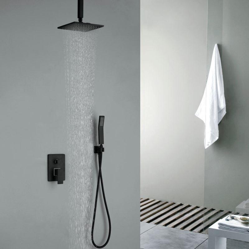 colonne de douche encastr e avec douchette noir en cuivre pour salle de bain. Black Bedroom Furniture Sets. Home Design Ideas