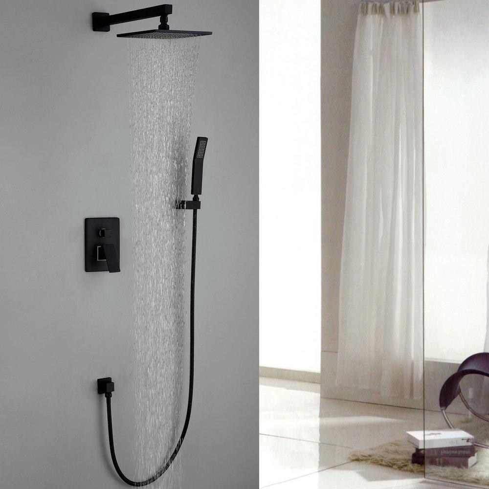 robinet de douche avec douchette noir en cuivre pour salle de bain. Black Bedroom Furniture Sets. Home Design Ideas