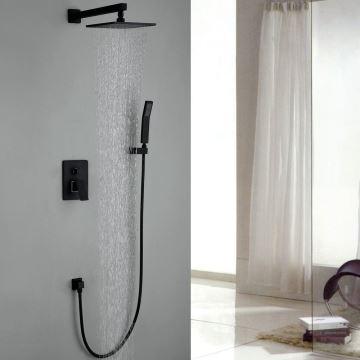 robinet de douche avec douchette noir en cuivre pour salle de bain - Robinet Salle De Bain Avec Douchette