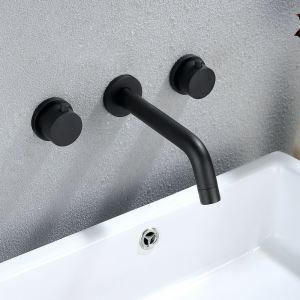 Robinet de baignoire noir en cuivre pour salle de bain 2 poignées 3 trous