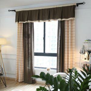 Rideau en polyester carreau en coton lin ombrage style de village
