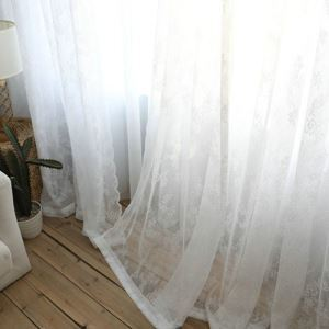 Voilage brodé canevas en dentelle blanche moderne simple