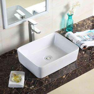 Vasque à poser D48.5cm carré lavabo en céramique pour salle de bains toilettes style moderne simple
