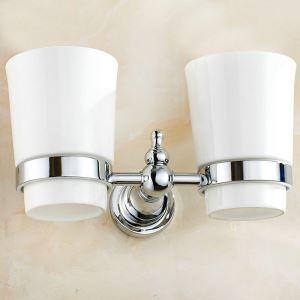 Porte de coupe brosse à dents chromé 2 coupes pour salle de bain