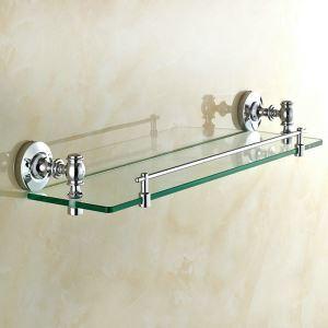 Étagère de salle de bain en verre chromé