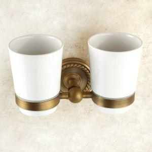 Porte de coupe brosse à dents en cuivre 2 coupes étirage pour salle de bain rétro
