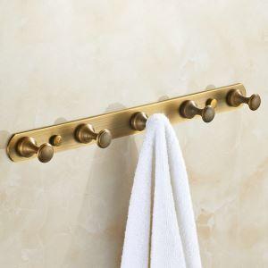 Crochet à vêtement en rang en cuivre étirage pour salle de bain rétro
