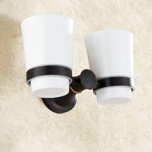 Porte de coupe brosse à dents en cuivre 2coupes noire ORB pour salle de bain antique