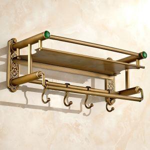 Étagère de salle de bain en cuivre doublé avec crochet étirage rétro