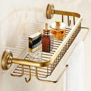 Étagère de salle de bain en cuivre avec crochet étirage rétro