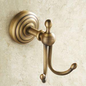 Crochet à vêtement en cuivre 2 crochets étirage pour salle de bain rétro