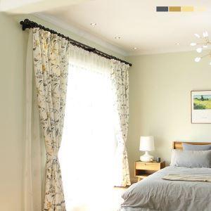 Rideau en coton lin écologique imprimé oiseau pour chambre à coucher