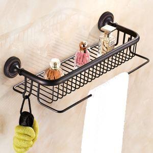 Étagère de salle de bain en cuivre noire avec crochet ORB antique