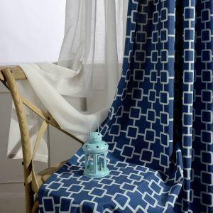 Rideau bleu impression abstraite à la mode simple moderne