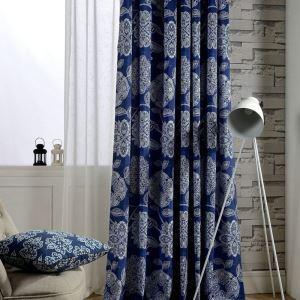 Rideau impression bleue pour salon chambre à coucher rétro