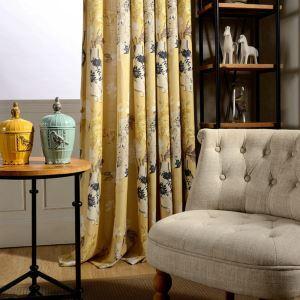 Rideau jaune impression généreux simple style américain