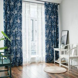 Rideau impression bleu pour salon écologique simple moderne