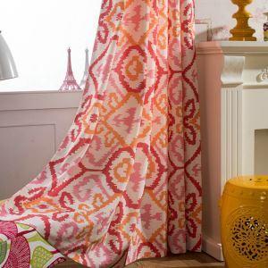 Rideau imprimé rond rouge pour chambre à coucher style américain