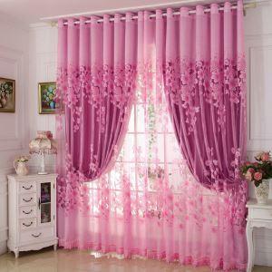 Voilage jacquard rose pour chambre à coucher style de village moderne