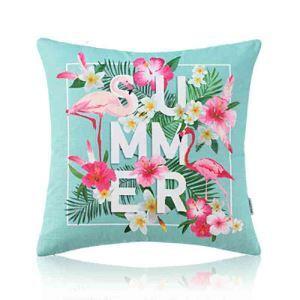 Housse de coussin en coton 50 x 50 cm style forêt tropicale pour canapé sofa