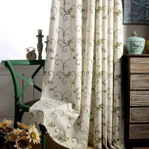 Rideau brodé feuille verte pour salon chambre à coucher simple