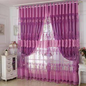 Voilage violette jacquard pour chambre à coucher élégant rétro
