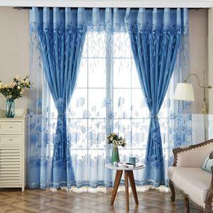 Voilage bleu jacquard lotus simple moderne